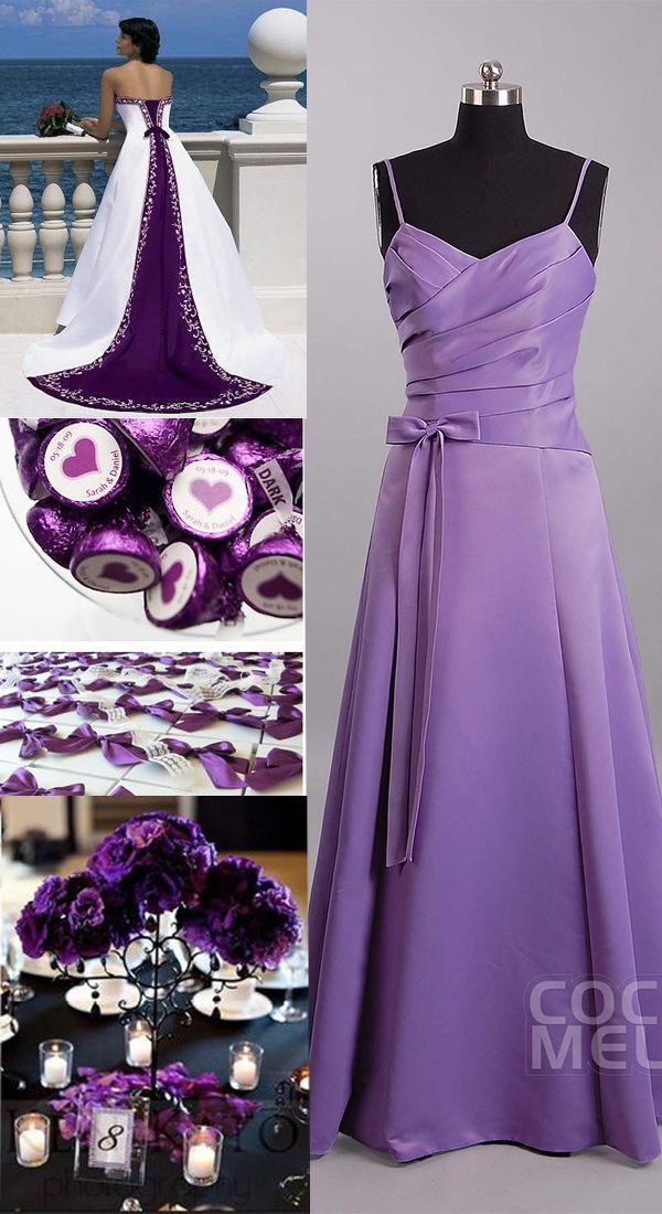New Design A-Line Spaghetti Strap Natural Floor Length Satin Violet ...