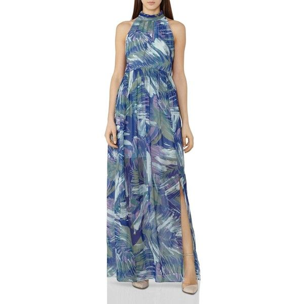 Reiss Anise Printed Maxi Dress (615 AUD) ❤ liked on Polyvore featuring dresses, multi, reiss, blue dress, print maxi dress, high neckline maxi dress and blue pattern dress