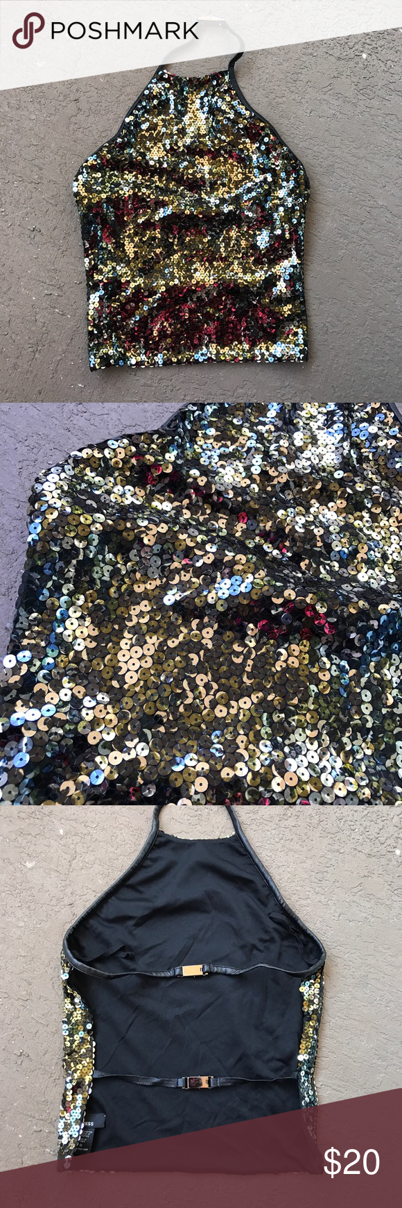 Express Sequin Open Back Halter Top This top is in great condition except the bottom back strap. It is cracking a little but tons of life left. The sequins reflect different colors in different lightings. Fake leather straps that clip together. Express Tops Tank Tops
