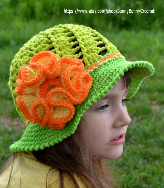 CROCHET SUMMER HAT - Crochet Sun hat, Girls Hat, Children, Large ...