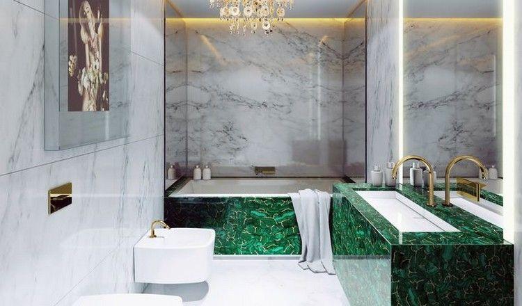 salle de bain pierre naturelle : murs en marbre blanc, tablier de ...