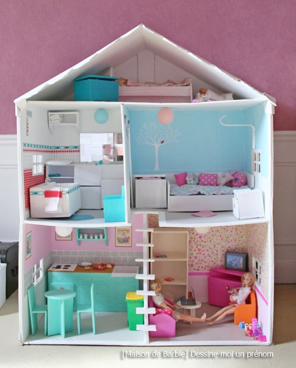 diy tutoriel fabriquer maison de barbie barbies pinterest maison de barbie de barbie et. Black Bedroom Furniture Sets. Home Design Ideas