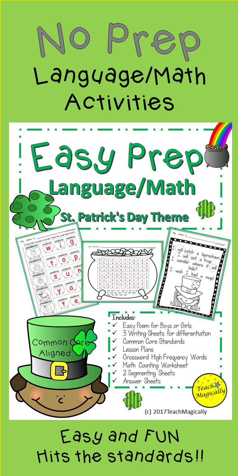 St Patricks Day Math And Writing No Prep Worksheets Teach