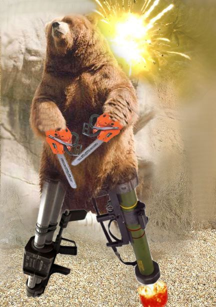 Its a bear with chainsaw arms and bazooka legs.