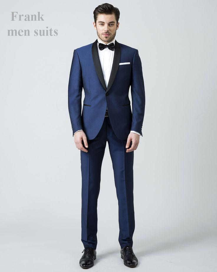New Style One Buttons Navy Groom Tuxedos Shawl Lapel Groomsmen Men ...