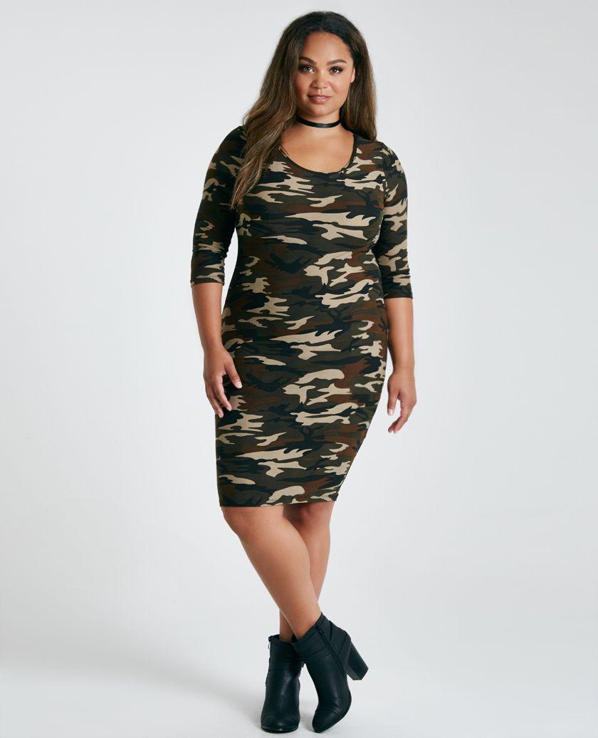 plus size soft camo print bodycon dress | wet seal plus | dresses