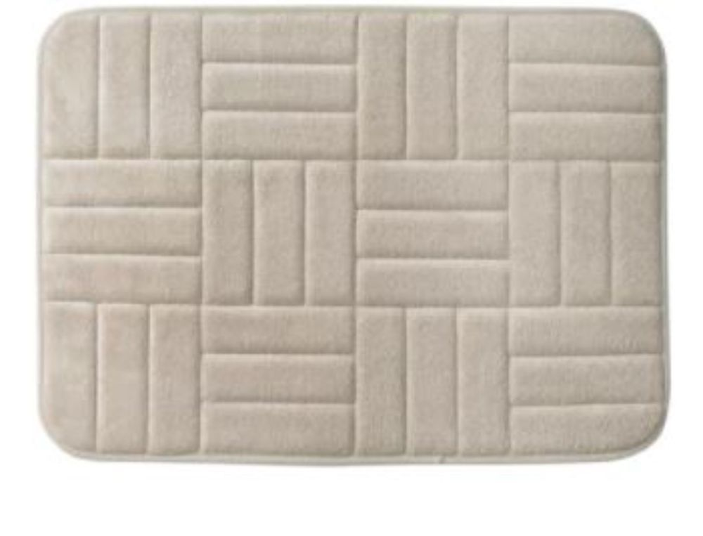 Microfiber And Memory Foam Taupe Anti Fatigue Bath Rug With Non