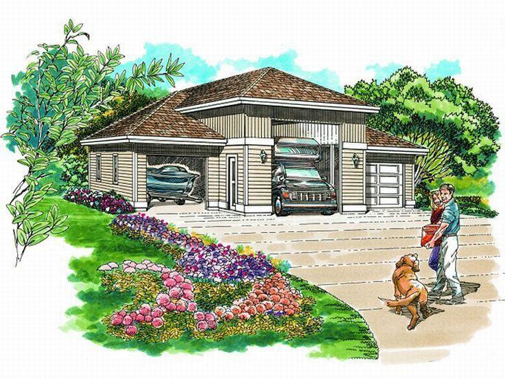 033G0020 RV Garage Plan with 2 Auto Bays RV Garage