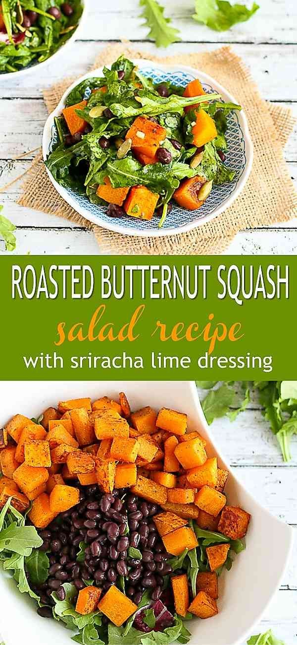 Roasted Butternut Squash Salad With Sriracha Lime Dressing Recipe With Images Butternut Squash Salad Recipes Recipes Butternut Squash Salad