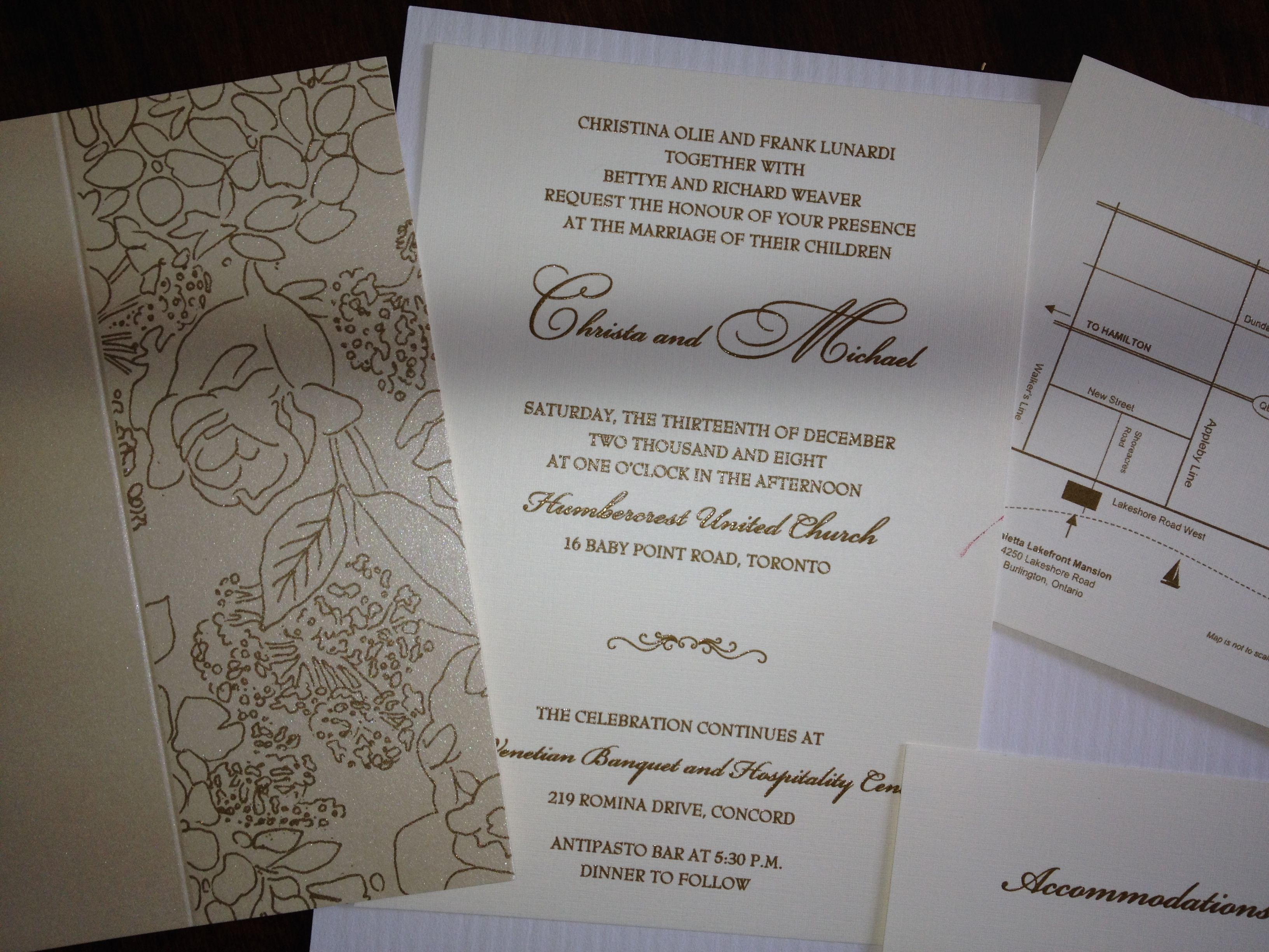 Floral Gold And White Wedding Invitation