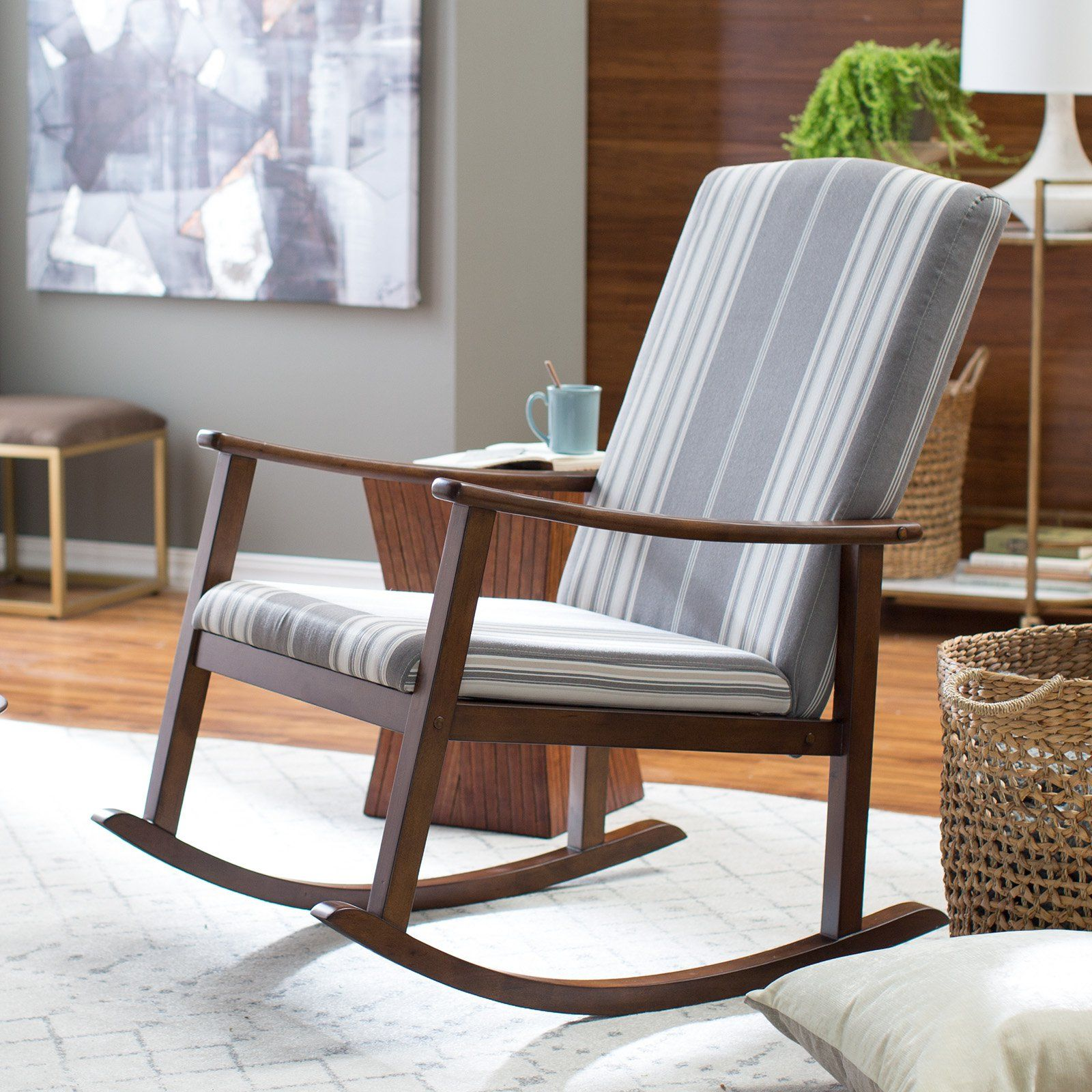 Great Belham Living Holden Striped Modern Rocking Chair | From Hayneedle.com