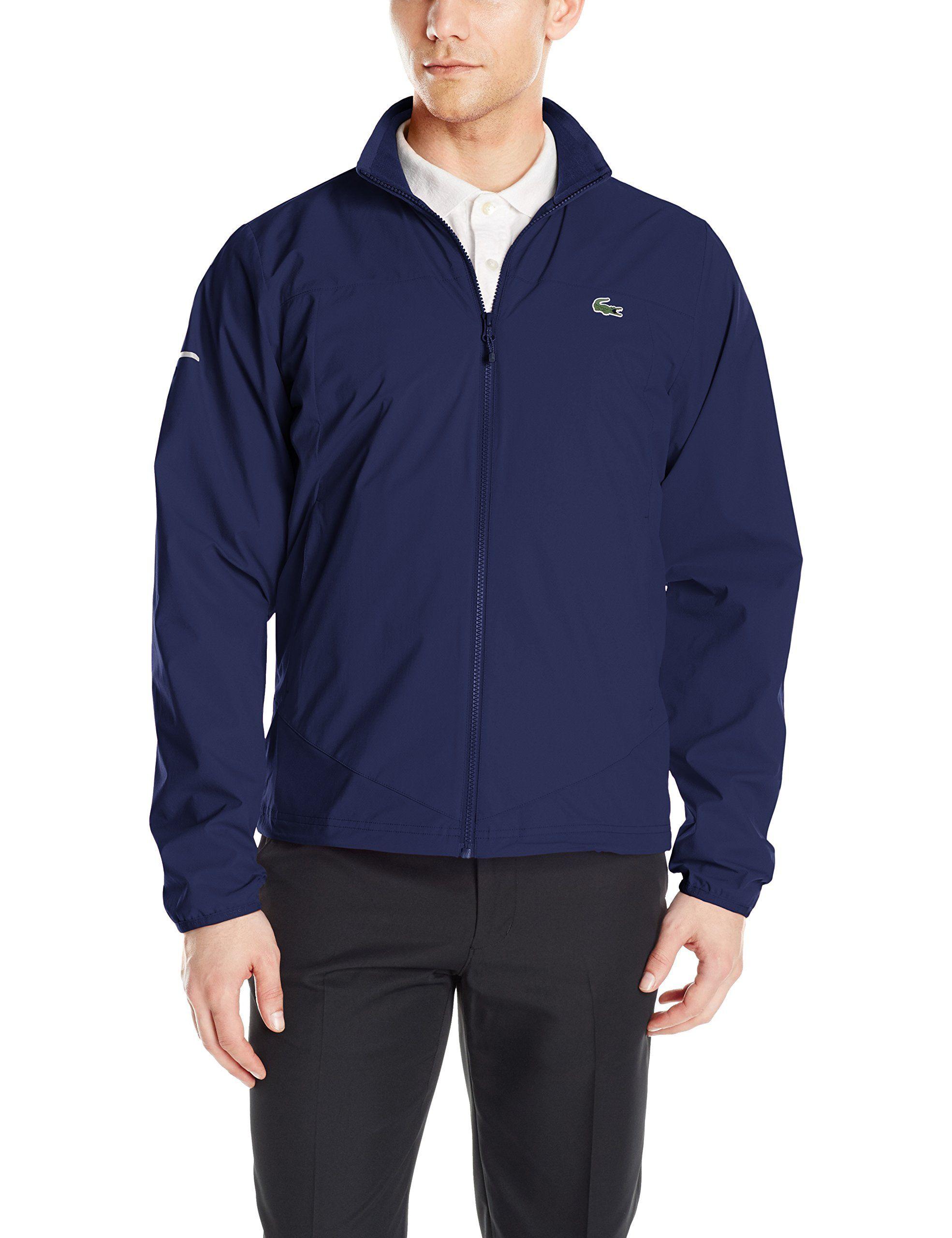 f4f40539 Men Golf Clothing - Lacoste Mens Golf Taffeta Jacket BH213251 Navy Blue/Navy  BlueWhite Large