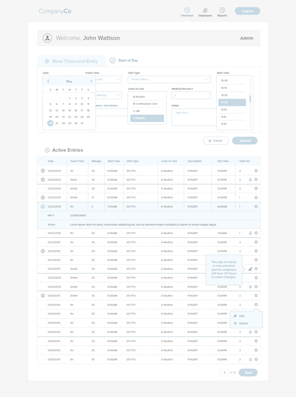 UiUx Timesheet By Ryan Hunter  Ui Design    Ryan