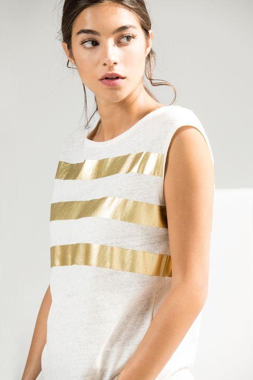 Camiseta Rayas Doradas Camisetas Mujer Moda Camiseta Dorada