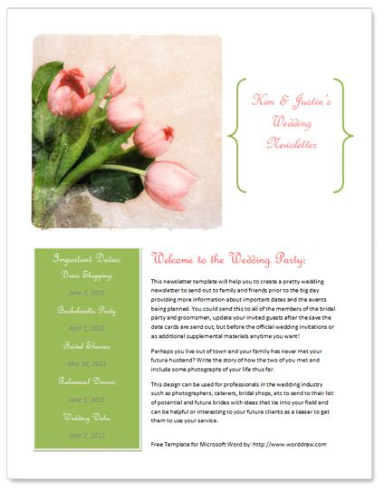 Free wedding newsletter template for Bridesmaid newsletter template