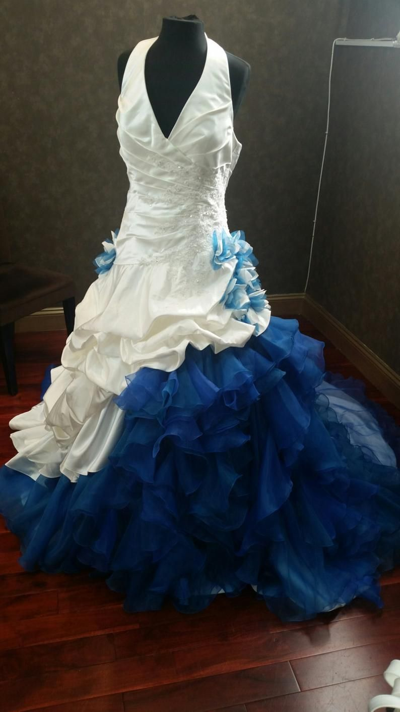 Blue And White Wedding Dress Blue And White Bridal Gown Blue And White Wedding Gown Dip Dye Wedding Dress Dye Wedding Dress White Bridal Gown [ 1411 x 794 Pixel ]