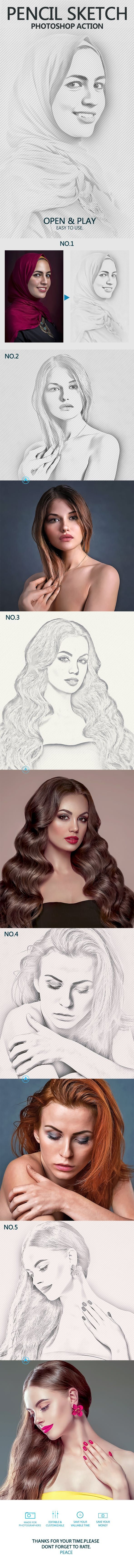 Pencil sketch photoshop action photo effects actions