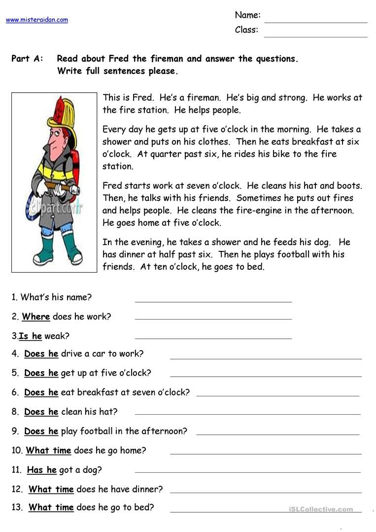- Fred The Fireman - Reading Comprehension (With Images) Reading