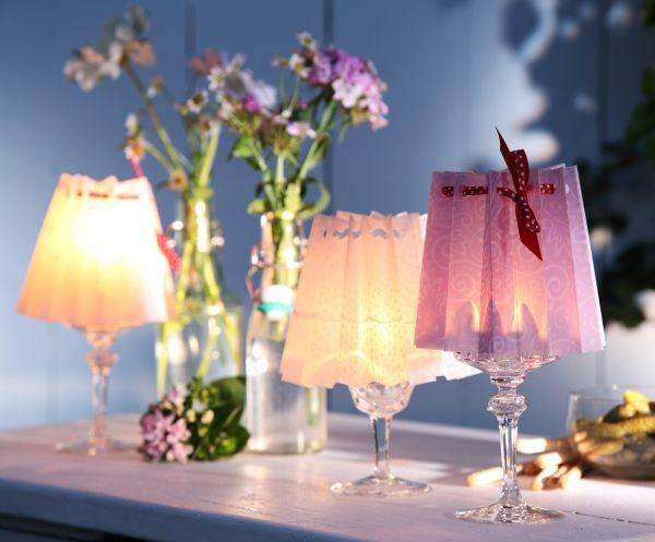 windlicht gl ser lampenschirm transparentpapier sommerabend tischdeko. Black Bedroom Furniture Sets. Home Design Ideas