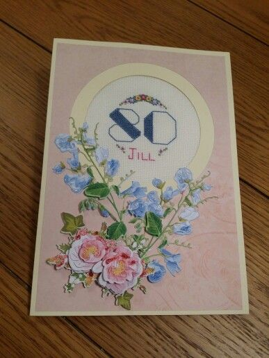 Handmade card using Tattered Lace Charisma Dies and cross stitch