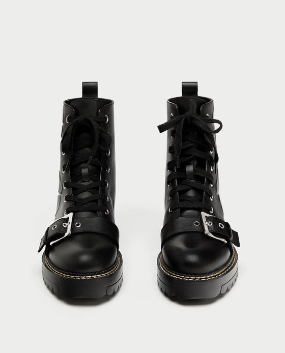 EMBOSSED LEATHER BIKER ANKLE BOOTS