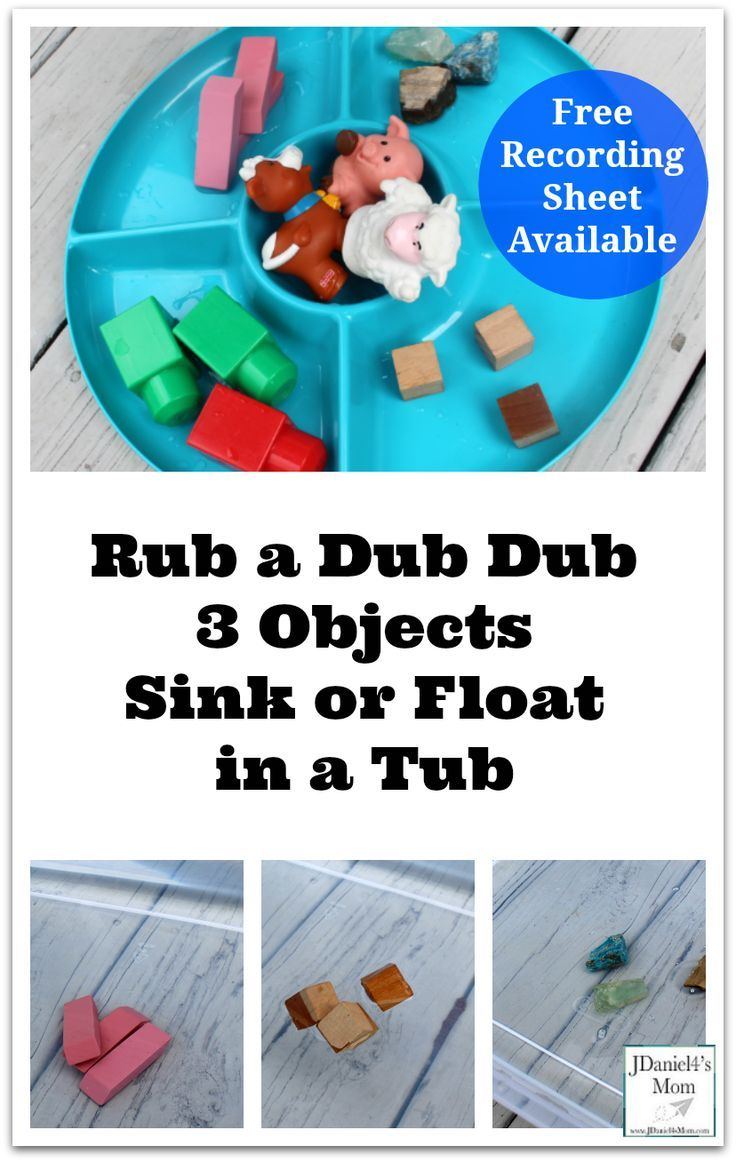 Rub a Dub Dub 3 Objects Sink or Float in a Tub - This activity has a ...