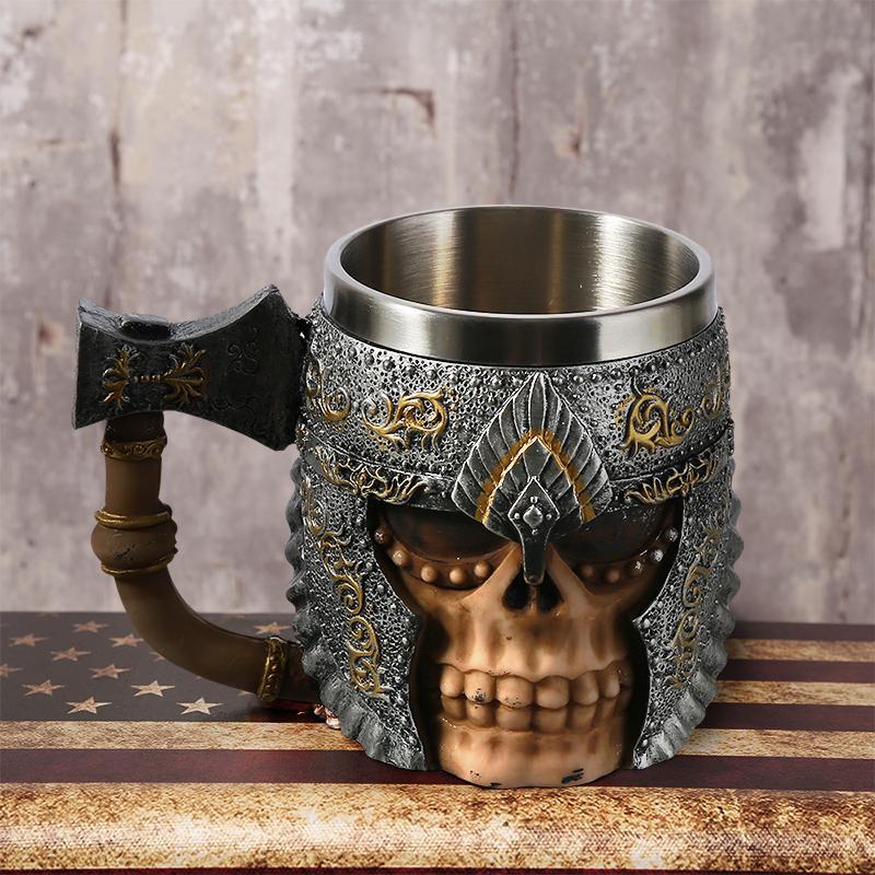 Halloween Skull Mug Stein Tankard Skeleton Knight Resin Coffee Mugs