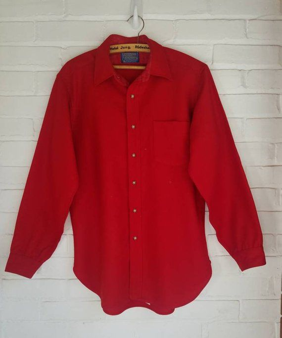 Vintage Pendleton Mens Red Wool Shirt Solid Christmas