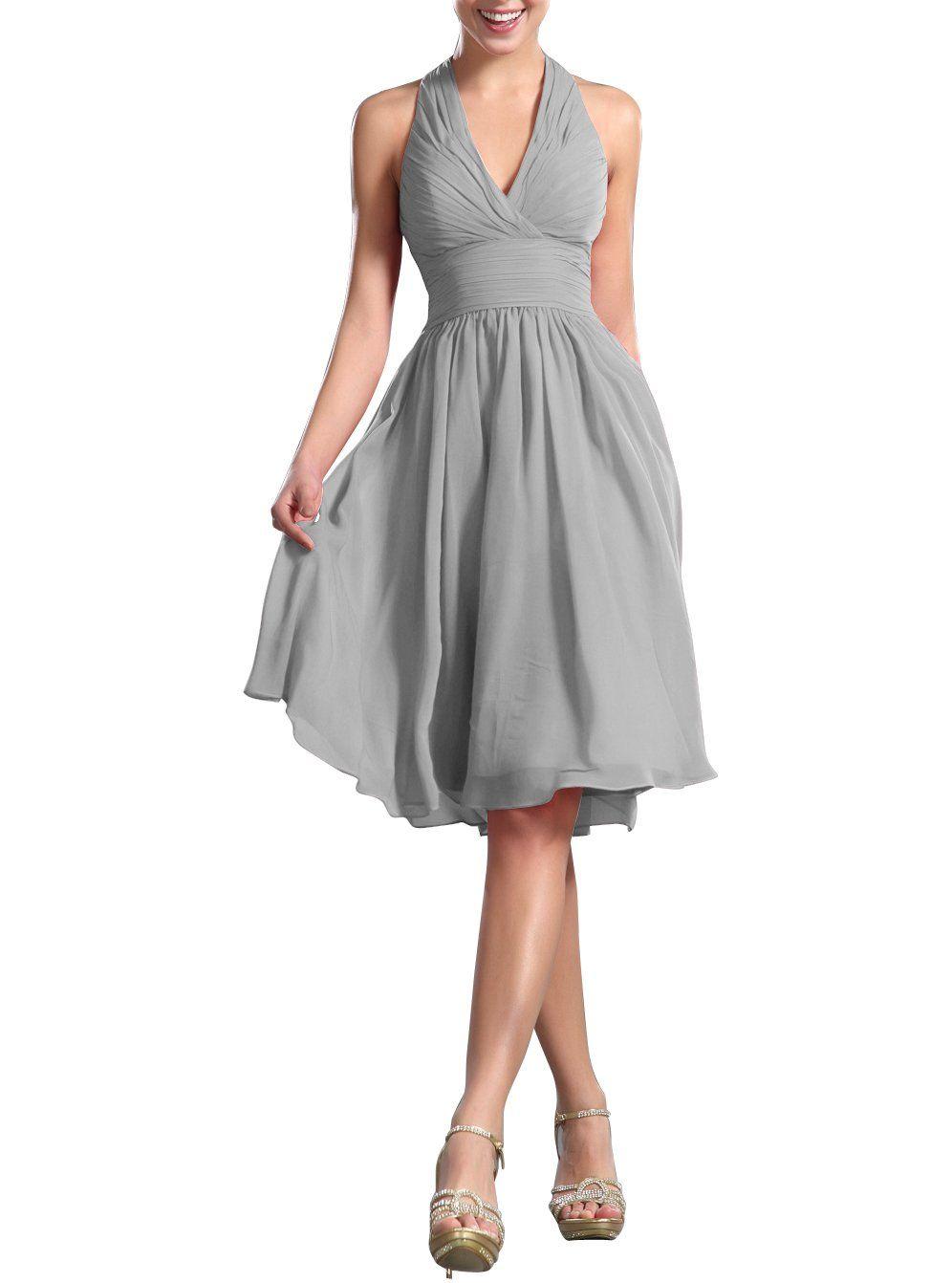 Huafeiwude womenus knee length halter dress bridesmaid dresses grey