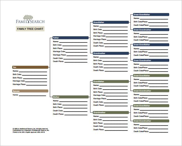 Family Tree Chart Template \u2013 9+ Free Word, Excel, PDF Format