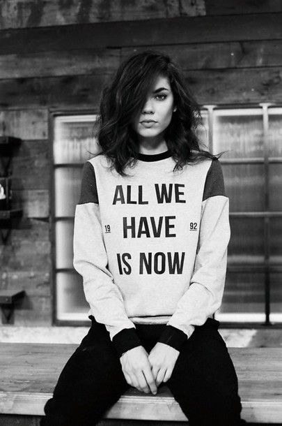 $20 All We Have Is Now Black Quote Logo Embroidery Grey Black And White Sweater Sweatshirt And Black Denim Jeans Cool Casual Black And White Old School Photograph