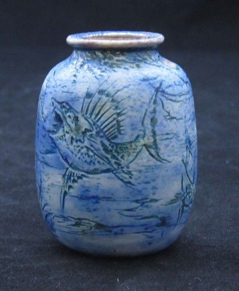 Decorated Fishing Urn Martin Brothers Miniature Vase Decorated With Grotesque And