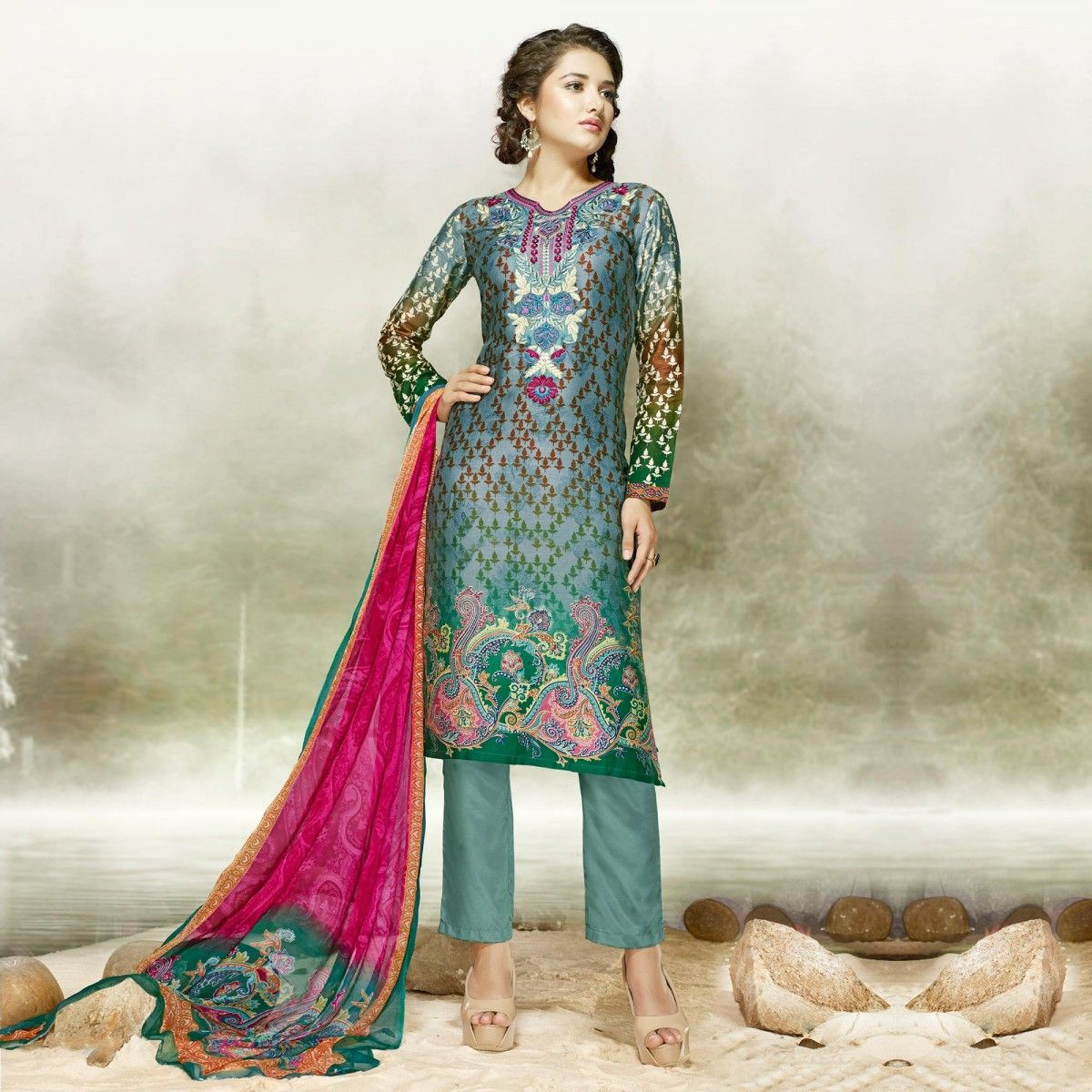 Buy Teal Green Party Wear Palazzo Suit for womens online India ...