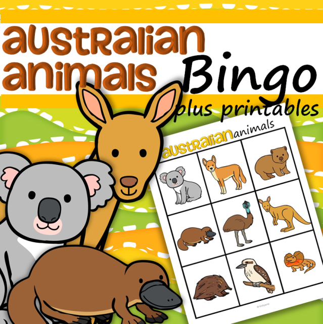 Australian Animals Bingo plus Printables for Preschool and Pre-K