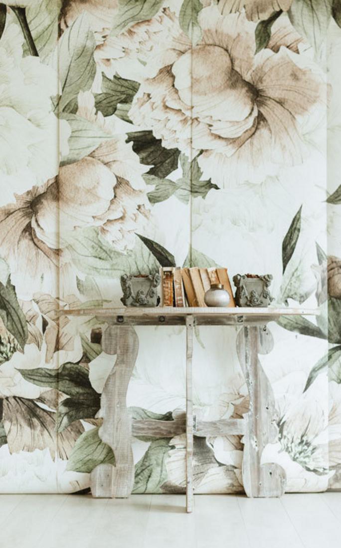 Best Blush Floral Wallpaper Mural Etsy Vintage Floral 400 x 300