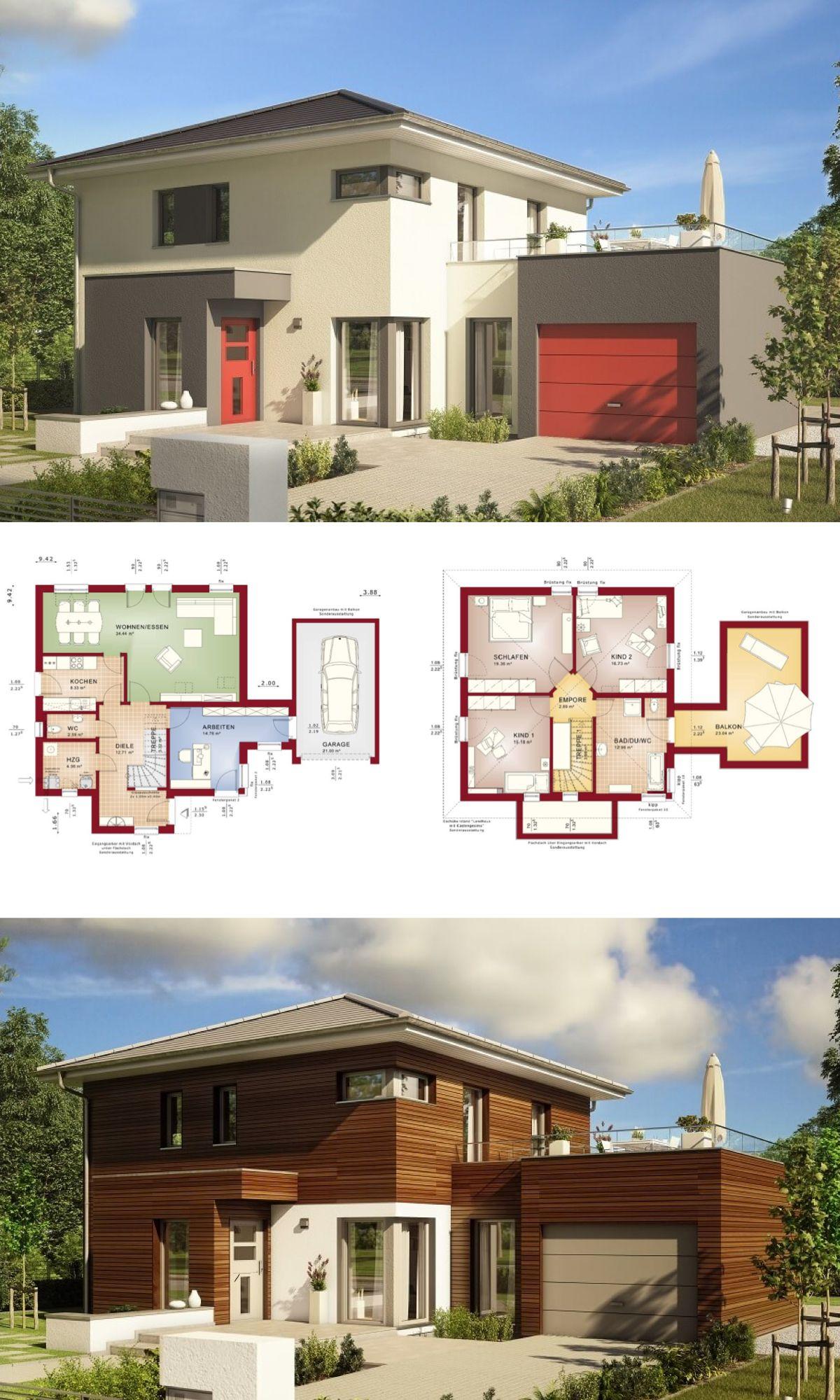 Moderne stadtvilla haus evolution 143 v12 bien zenker for Haus grundriss mit garage
