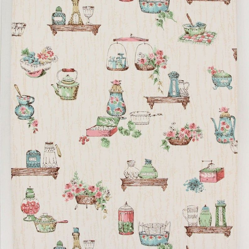 1950s Vintage Wallpaper Pink And Blue Kitchen On Wood Grain By Etsy In 2020 Wallpaper Pink And Blue Vintage Wallpaper Wallpaper