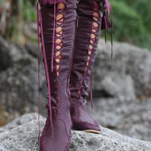 $267.97 @ gipsydharma.com Posted by LowriRoberts via the RightGift It Button  Description: These beautiful plum knee high leather boots are designed for the pixie at heart. With a unique design to inspire the imagination and evoke the senses