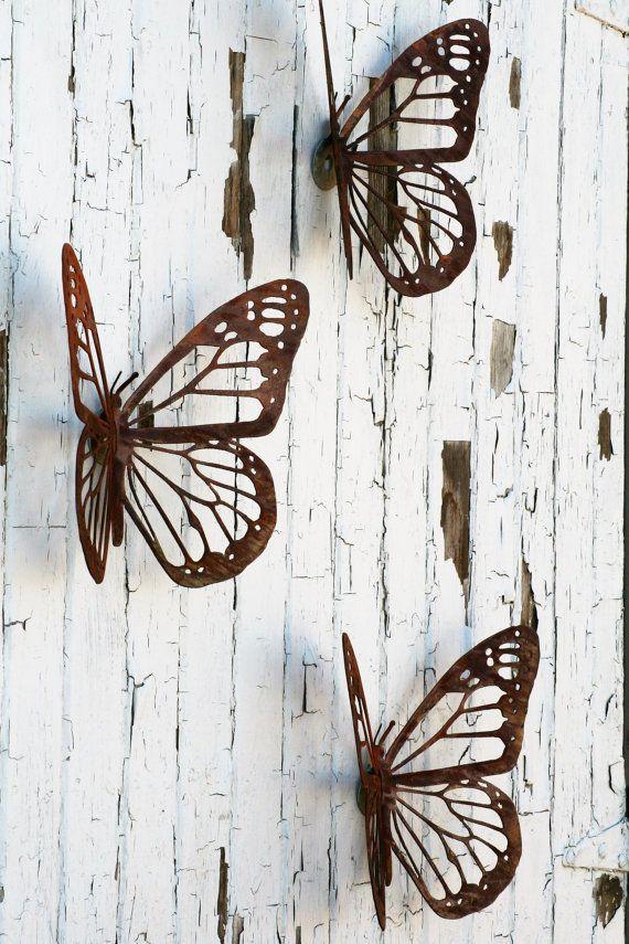 Monarch Butterfly Rustic Steel Wall Art Decor Single Or Set 15