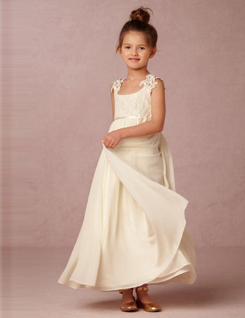 Cheap Chiffon Lace Flower Girl Dresses For Wedding Sleeveless ...