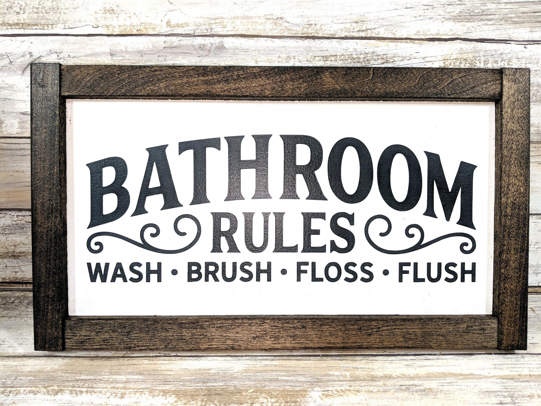 Rustic Bathroom Rules Sign Bathroom Decor Wood Bathroom Sign Farmhouse Signs Farmhouse Decor Country Signs Rustic Signs In 2020 Bathroom Rules Bathroom Rules Sign