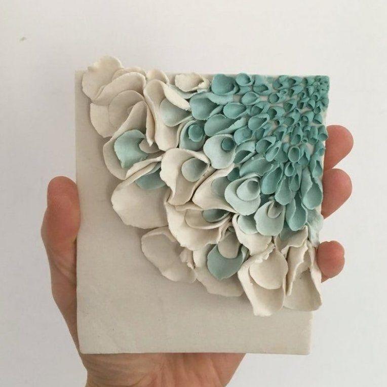 Ceramic flower wall decor porcelain blossom tile white