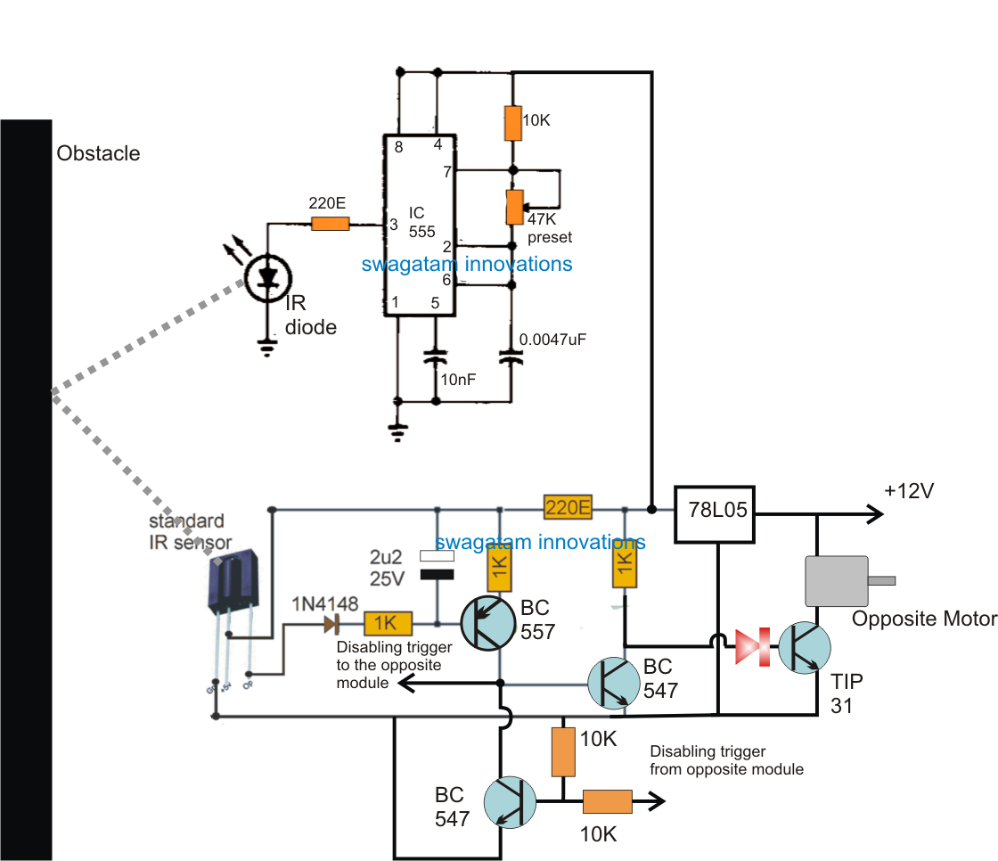 Simple Robot Circuit Diagram | The Article Presents A Simple Obstacle Avoiding Robot Circuit