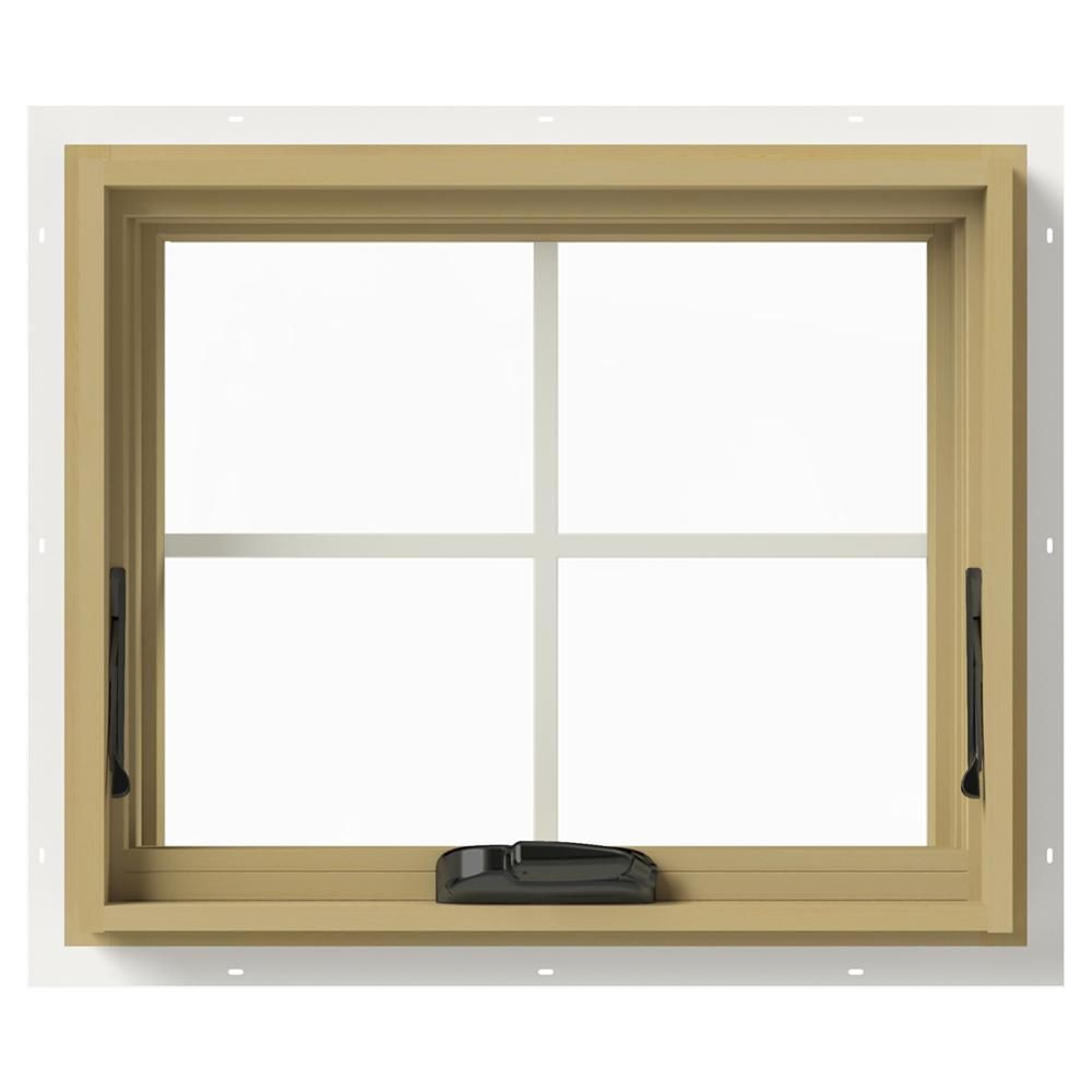 Jeld Wen 24 In X 20 In W 2500 Series White Painted Clad Wood Awning Window W Natural Interior And Screen Thdjw143300127 Wood Windows Natural Interior Window Awnings