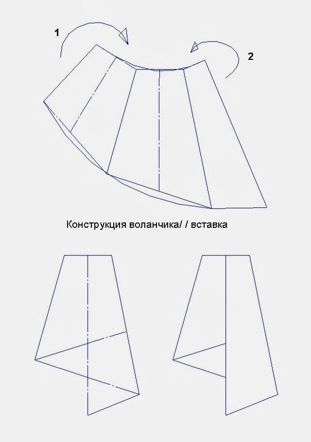 701ec9b46 Patrón gratis: falda con volantes plegados | pattern drafting ...
