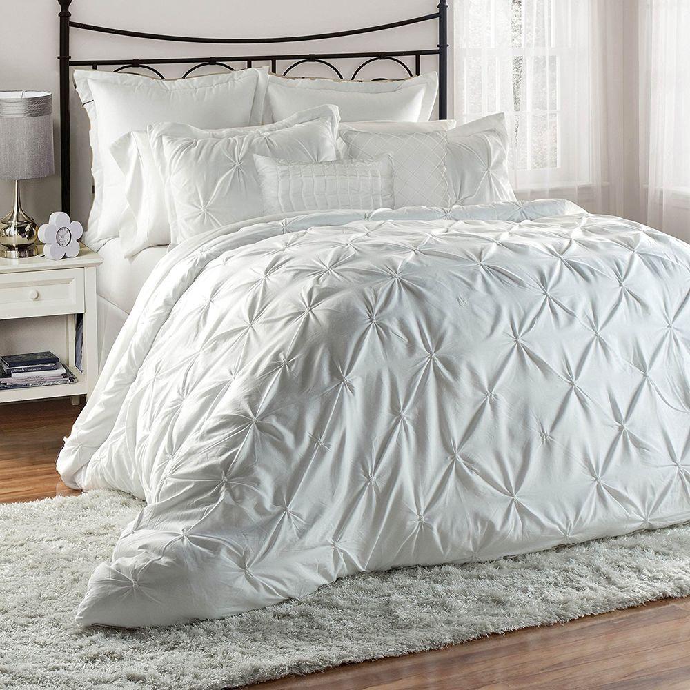 Homechoice 8 Piece Lucila Pinch Pleat Pintuck Ruffle Comforter Set Queen White Homechoice Modern Comforter Sets Ivory Comforter King Comforter Sets
