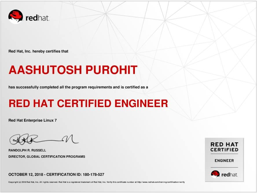 Red Hat Inc Hereby Certifies That Aashutos Purohit Has