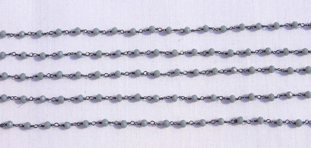 5 Feet Grey Moonstone Chalcedony Black Plated 3.50mm Beads Rosary BeadedChain # #Faceted