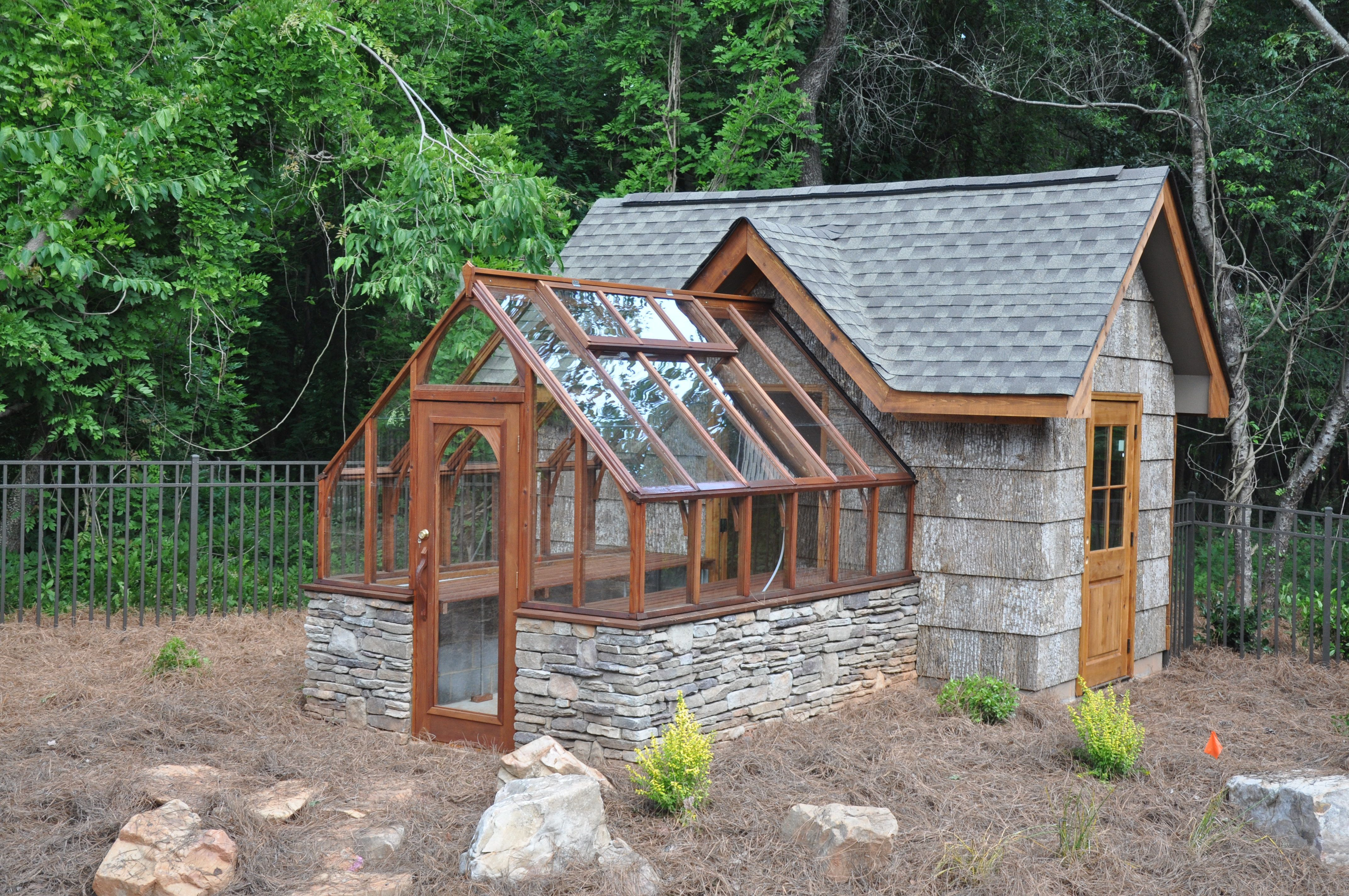 Tudor Greenhouse Attached To An Upscale Garden Shed Greenhouse Shed Greenhouse Plans Backyard