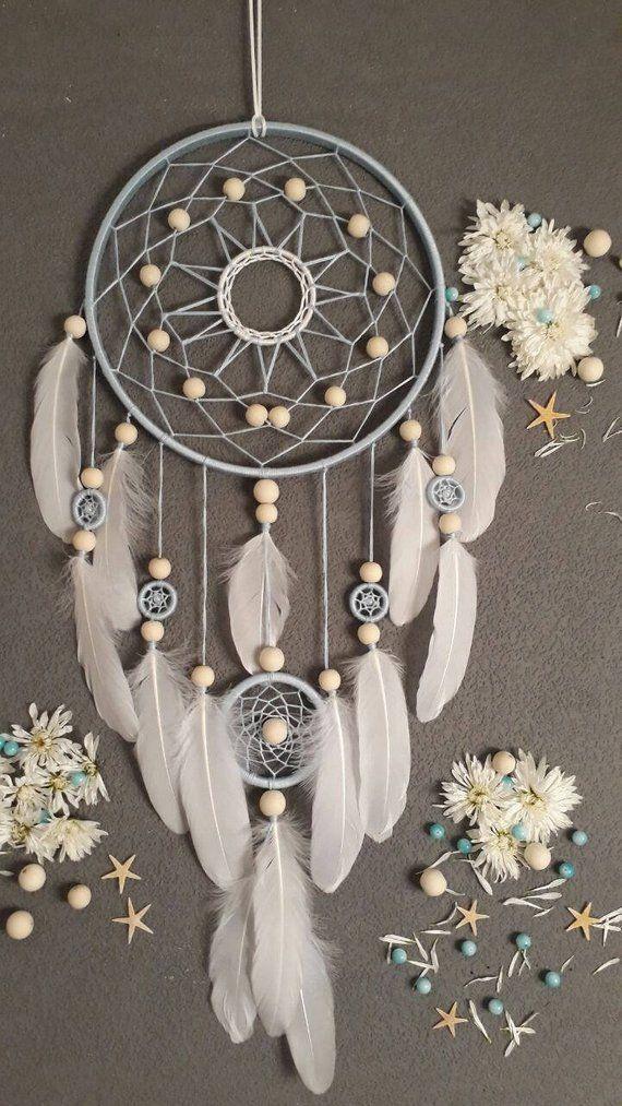 Blauer Traum Eyecatcher großer Traumfänger Hochzeitstraumfänger Boho Stil Boho Dekor Shabby Chic Dekoration Schlafzimmer Wanddekoration -   # #dreamcatcher
